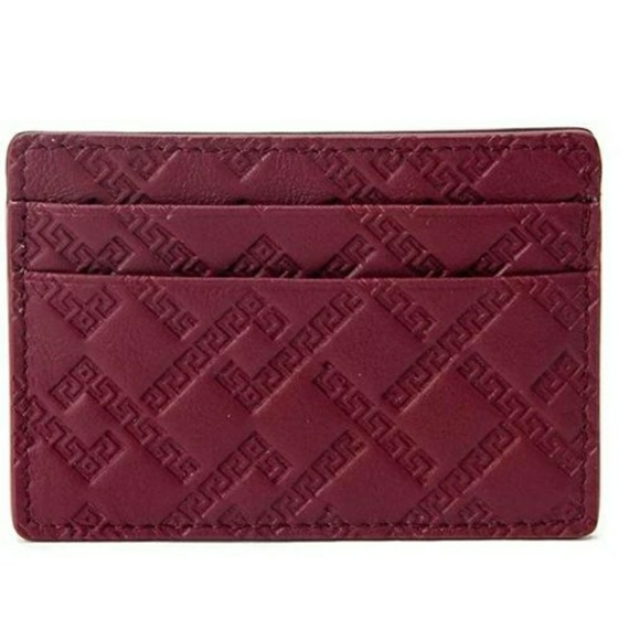 Versace Handbags - Versace Greek Keys Leather Credit Card Id Wallet